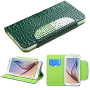 Insten Book-Style Leather Crocodile Case w/stand/card slot/Diamond For Samsung Galaxy S6 - Green
