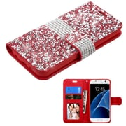 Insten Leather Wallet Diamond Cover Case with card slot For Samsung Galaxy S7 - Red/Silver