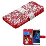 Insten Leather Wallet Diamante Case with card slot For Samsung Galaxy S7 Edge - Red/Silver