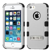 Insten Hard Hybrid Silicone Case w/stand For Apple iPhone SE / 5 / 5S - Gray/Black
