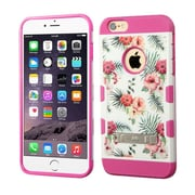 Insten Hawaiian Hibiscus Hard Hybrid Rubberized Silicone Case with Stand For iPhone 6 Plus / 6s Plus - Hot Pink/White