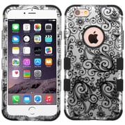 Insten Tuff Four-leaf Clover Hard Hybrid Silicone Cover Case For Apple iPhone 6/6s - Black