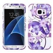 Insten Tuff Hibiscus Flower Romance Hybrid Soft Hard Case (3-Piece Style) for Samsung Galaxy S7 Edge - Purple/White