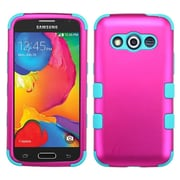 Insten Hybrid Rugged Shockproof Rubber Hard Case  Titanium For Samsung Galaxy Avant G386T - Hot Pink/Teal