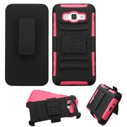Insten Hard Hybrid Shockproof Plastic Silicone Case w/Holster For Samsung Galaxy Grand Prime - Black/Hot Pink