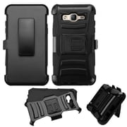 Insten Hard Hybrid Shockproof Dual Layer Case with Kickstand Holster Clip For Samsung Galaxy On5 - Black