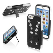 Insten 3-Layer Hybrid Case Winter Snowflake Inverse Soft Silisone/Hard PC Shockproof Cover for iPhone 6 6s Black/White