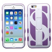 Insten Dollar Hard Dual Layer Rubber Silicone Cover Case w/stand For Apple iPhone 6 - Purple/White
