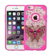 Insten Luxury Butterfly 3D Crystal Diamond Bling Diamante Hard Case Cover for iPhone 6s 6 - Clear/Hot Pink