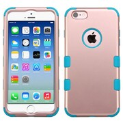 Insten Hybrid 3-Layer Protective Hard PC Outer/Silicone Inner Case for iPhone 6 6s - Rose Gold/Blue