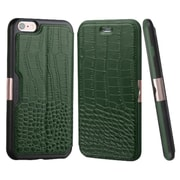 Insten Genuine Leather Crocodile Embossed Wallet Flip Case Stand Cover with Card Slot For iPhone 6s 6 - Green/Black
