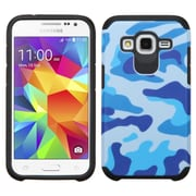 Insten Camouflage Hard Dual Layer Rubber Coated Silicone Cover Case For Samsung Galaxy Core Prime - Blue/Black