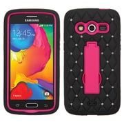 Insten Symbiosis Skin Dual Layer Rubber Hard Case w/stand/Diamond For Samsung Galaxy Avant - Black/Hot Pink