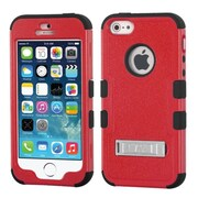 Insten Tuff Hard Hybrid Shockproof Rubber Coated Silicone Case with Stand For Apple iPhone SE 5S 5 - Red/Black