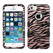 Insten Tuff Zebra Hard Dual Layer Rubberized Silicone Cover Case For Apple iPhone SE 5S 5 - Rose Gold/Black