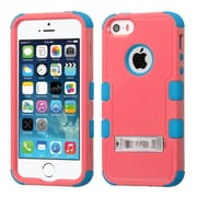 Insten Hard Dual Layer Rubber Coated Silicone Case w/stand For Apple iPhone SE 5S 5 - Red/Teal