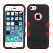 Insten Tuff Hard Dual Layer Rubber Coated Silicone Cover Case For Apple iPhone SE 5S 5 - Black/Red