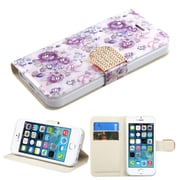 Insten Flowers Wallet Leather Case with Card slot For iPhone 5/5C/5S/SE - Purple/White