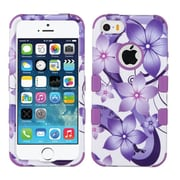 Insten Tuff Hibiscus Flower Romance Hard Hybrid Rubber Coated Silicone Case For Apple iPhone SE / 5 / 5S - Purple/White