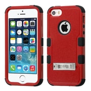 Insten Hard Dual Layer Rubber Coated Silicone Case w/stand For Apple iPhone SE / 5 / 5S - Red/Black