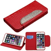 """Insten Book-Style Leather Fabric Case w/stand/card holder/Diamond For Apple iPhone 6 Plus 5.5"""" - Red/White"""