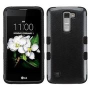 Insten Tuff Carbon Fiber Hard Hybrid Rubber Coated Silicone Case For LG K7 - Black