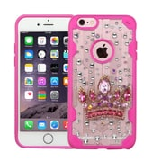 Insten Luxury Crown 3D Crystal Diamond Bling Diamante Hard Case Cover for iPhone 6s Plus / 6 Plus - Clear/Hot Pink