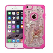 Insten Blessed Bell Flower 3D Crystal Diamond Bling Diamante Hard Case Cover for iPhone 6s Plus / 6 Plus - Clear/Pink