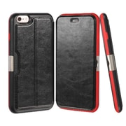 Insten Book-Style Leather Fabric Case w/stand/card slot For Apple iPhone 6 Plus/6s Plus - Black/Red