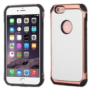 Insten 2-Layer Hybrid TPU / Hard Plastic Leather Backing Case for iPhone 6s Plus / 6 Plus - White/Rose Gold