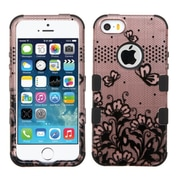 Insten Tuff Lace Flowers Hard Hybrid Silicone Cover Case For Apple iPhone SE 5S 5 - Rose Gold/Black