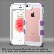 Insten Hard Hybrid Clear Crystal Silicone Bumper For Apple iPhone SE / 5/ 5S - White/Purple