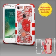 Insten Ivory White Frame+Transparent Spring Daisies PC Back/Red TUFF Vivid Hybrid Case Cover for Apple iPhone 7