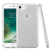 Insten Bling Glitter Hybrid Hard Plastic / Soft Flexible Rubber Case For iPhone 7 - Silver