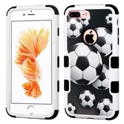 Insten Soccer Ball Collage/Black TUFF Hybrid Dual Layer Case Cover for Apple iPhone 7 Plus