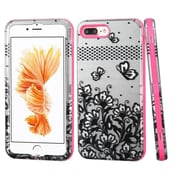Insten Lace Flowers Hard 3-Layer Rubber Coated Silicone Cover Case For iPhone 7 Plus - Black/Pink