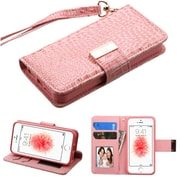 Insten Folio Leather Crocodile Skin Case Lanyard w/stand/card holder/Photo Display For Apple iPhone SE / 5 / 5S - Pink