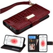 Insten Burgundy Crocodile Embossed Wallet Leather Case For iPhone SE 5 5S (with Lanyard / Card Cash slots / Kickstand)