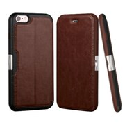 Insten Flip Leather Fabric Cover Case w/stand/card holder For Apple iPhone 6 Plus/6s Plus - Brown/Black