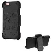 Insten Skullcap Hard Rubber Coated Cover Case w/Holster For Apple iPhone 6s Plus / 6 Plus - Black