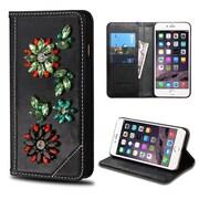 Insten Black Wallet Leather Case For iPhone 6s Plus / 6 Plus (with 3D Colorful Diamond Flower / Card Cash slots)