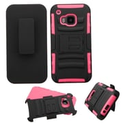 Insten Hard Dual Layer Plastic Silicone Case w/Holster For HTC One M9 - Black/Pink