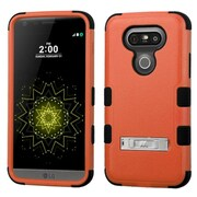 Insten Hard Hybrid Silicone Cover Case with stand For LG G5 - Orange/Black