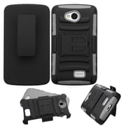 Insten Hard Hybrid Rugged Shockproof Plastic Silicone Cover Case w/Holster For LG Optimus F60 - Black/Gray