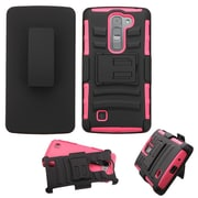 Insten Hard Hybrid Rugged Shockproof Plastic Silicone Case w/Holster For LG Magna/Volt 2 - Black/Hot Pink