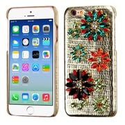 Insten Flowers Leather 3D Fabric Hard Case w/Diamond For Apple iPhone 6 / 6s - Gold/Colorful