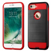 Insten Dual Layer Soft TPU Hard Plastic Ultra Slim Case For iPhone 7 - Black/Red