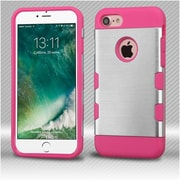 Insten Silver/Electric Pink Brushed TUFF Trooper Hybrid Dual Layer Case Cover for Apple iPhone 7