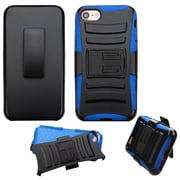 Insten Hard Dual Layer Hybrid Case with Holster Belt Clip Kickstand For iPhone 7 - Black/Blue