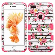 Insten Tuff Fresh Roses Hard Dual Layer Rubber Silicone Cover Case For Apple iPhone 7 Plus - Pink/White
